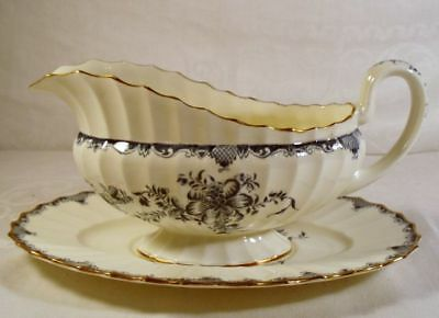 Royal Worcester Mansfield Gravy Boat with Underplate