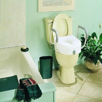 CAREX E-Z LOCK RAISED TOILET SEAT COMMODE w/ ARM/RESTS