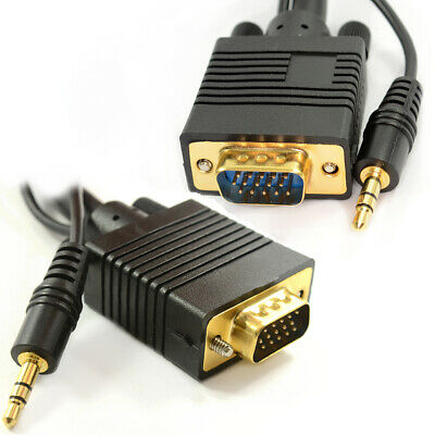 2m Laptop to LCD HD TV VGA Cable with Jack Audio Lead