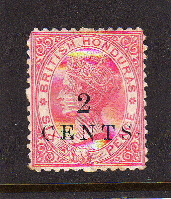 BR.HONDURAS 1888 2c on 6d ROSE P.12½ MOUNTED MINT.