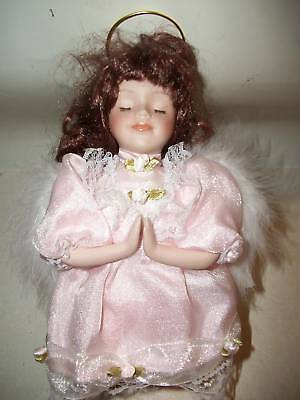 Praying Angel Porcelain Doll, 8 inch