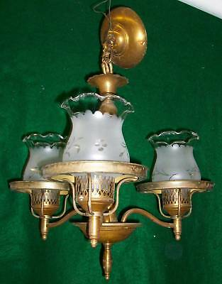Funky Chandelier Brass Antique Lighting Hanging 3 Light