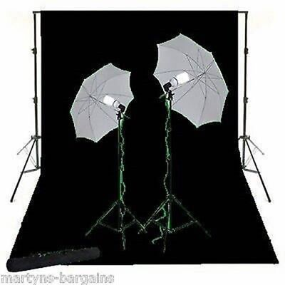 Photographers Black Background Screen With Light Kit