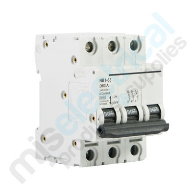 3 Pole Circuit Breakers - D Curve - 6kA Rating - Din Rail Mounting MCB