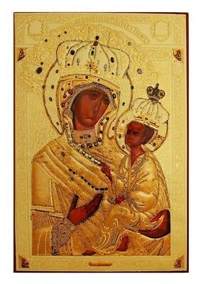 Madonna Christ Russian Icon Wood Gold Foil Virgin Mary