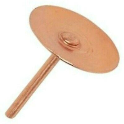 100 x COPPER DISC RIVETS - 20mm LONG x 1.5mm THICK - SLATE ROOF PIN RIVET