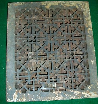 One Cast Iron Heat Grate Antique Arts & Crafts NY Old 1426