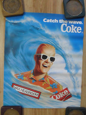 Classic Max Headroom Coke Coca-Cola Advertising Poster ~ Catch the Wave Surfing