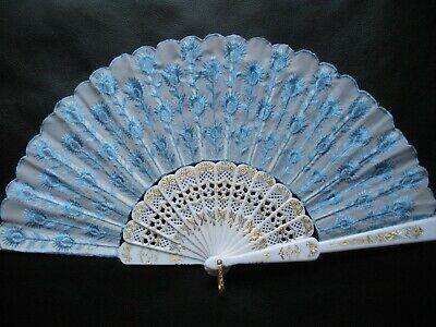 New Spanish Embroidered Cloth Folding Hand Fan Bridal