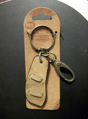 Brass & Genuine Leather Sandal Keychain with Clip