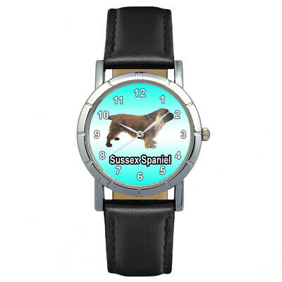 Sussex Spaniel Dog Men Lady Genuine Leather Quartz Movement Wrist Watch SA1120