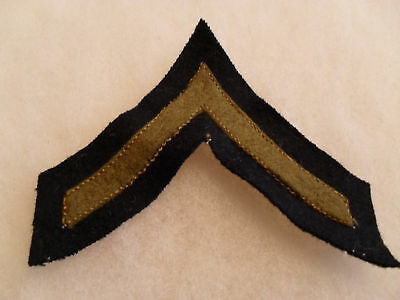 RARE 1920'S 2 PC US ARMY PFC CHEVRON OD WOOL ON BLACK