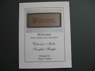 Welcome  motto sampler counted  cross stitch chart