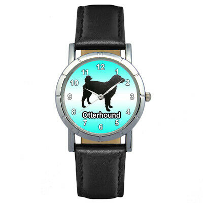 Otterhound Dog Men Lady Genuine Leather Quartz Movement Wrist Watch SA1132