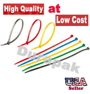 "100 PCS 8"" BROWN GREEN ORANGE++ Color Cable  Tie 40 Lbs Retail Packaging Secure"