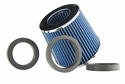 "89mm INLET HIGH POWER CONE AIR FILTER BLUE FIT 2.5""/2.75""/3"" PIPES"