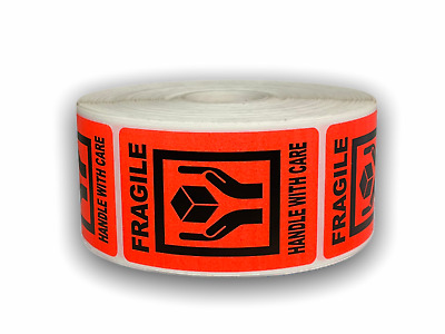 1000 Labels 2x3 Br/Red FRAGILE Hand Holding Box Shipping Mailing Warning Sticker