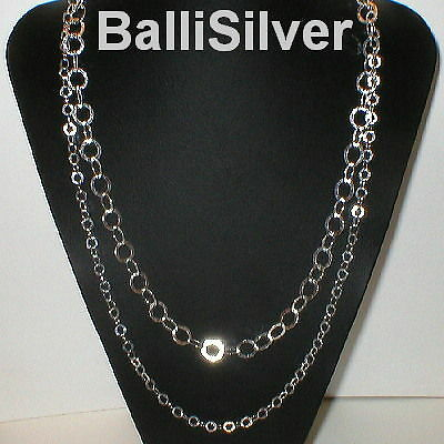 3 pieces Sterling Silver 925 Two Strands HAMMERED CHAIN NECKLACES Wholesale Lot