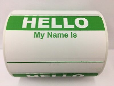 "250 Labels 3.5""x 2.375"" RED Hello My Name Is Badge Tag Identification Stickers"
