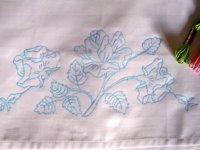 Traced to Embroider pillow case English Rose