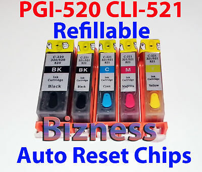 REFILLABLE CARTRIDGES for CANON PGI-520 CLI-521 MP640 +