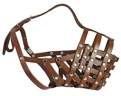 Secure Genuine Leather Basket Dog Muzzle Mastiff Saint Bernard Great Dane