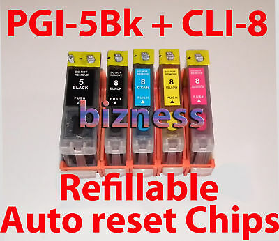 REFILLABLE CARTRIDGES for CANON PGI-5Bk CLI-8 MP610 +