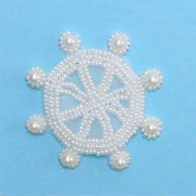 Crystal Iris Captains Wheel Pearl Beaded Applique 2102-A