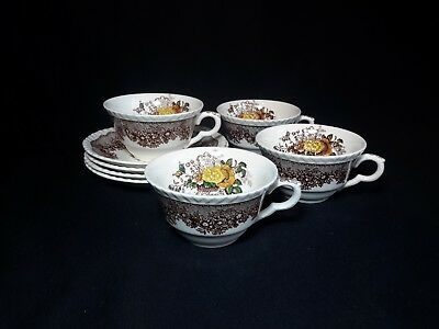 Mason's Ascot (Brown Multicolour) Set of Four Cups and Saucers