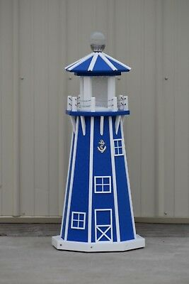 """39"""" Octagon Electric and Solar Powered Poly Lighthouse Blue and White"""