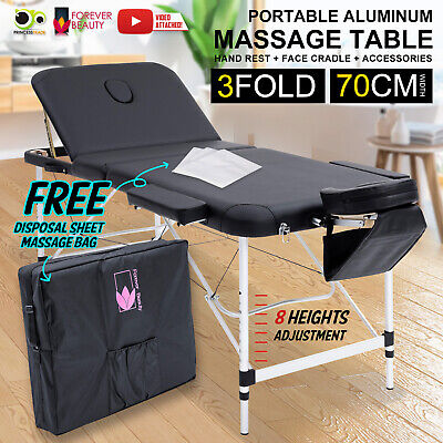 Aluminium Portable Massage Table 3 Fold Beauty Therapy Bed Waxing 70cm BLACK