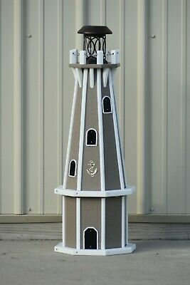 """Solar Powered 32"""" Octagon Polywood Lighthouse (Clay/trimmed in white)"""