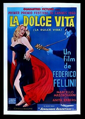 LA DOLCE VITA * CineMasterpieces ARGENTINA 1SH ORIGINAL MOVIE POSTER LINEN 1960