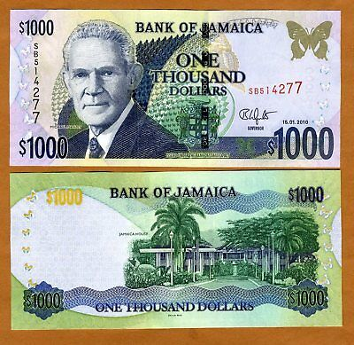 Jamaica, $1000 (1,000), 1-15-2010, UNC > New Signature