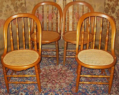 Antique Victorian Maple Bowback Dining Chairs Caned 4