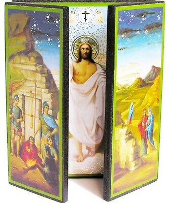 Russian Orthodox Icon Wood Triptych Resurrection of Christ Catholic Religious