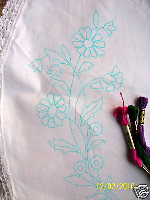 Tablecloth Marigold flowers design circular cotton lace edge printed embroidery
