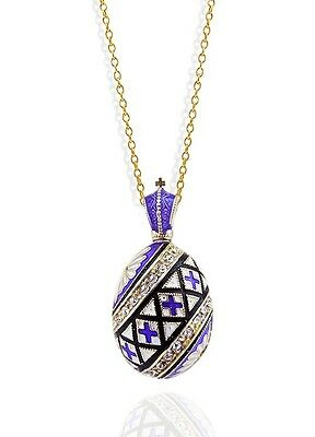 Russian Egg Pendant Pysanky Necklace Easter gift Silver 925 Gold Plate 18kt NEW!