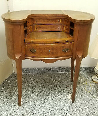 Louis XV Revival Inlaid Oval Wood Desk Secretary