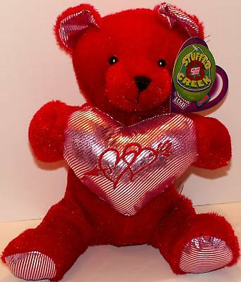 Beautiful BEAR Plush! Silver Hart! STUFFED GREEN! NEW!