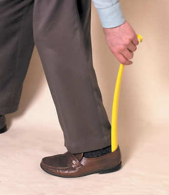Yellow Long Handled Shoe Horn with Hook 16 Inches