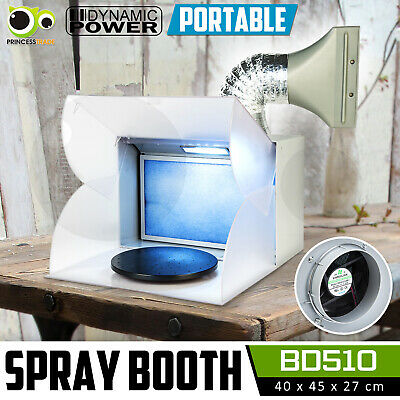 Spray Booth LED Air Brush Extractor Hose Turntable Filter Exhaust Fan Portable