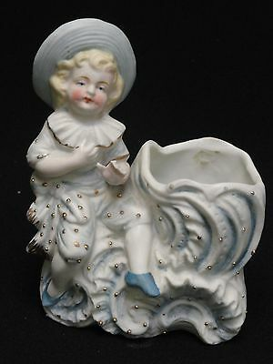 Victorian BOY ON FLOAT Figurine Bisque Match Holder