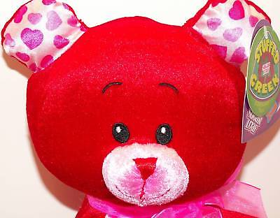 RED BEAR Valentine Plush! STUFFED GREEN! NEW!