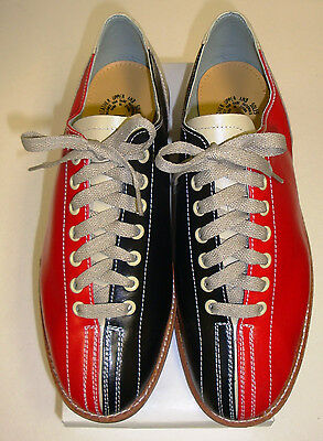 Size 1 Boys Leather Rental Shoes  Black and Red Bowling FREE SHIP-NEW
