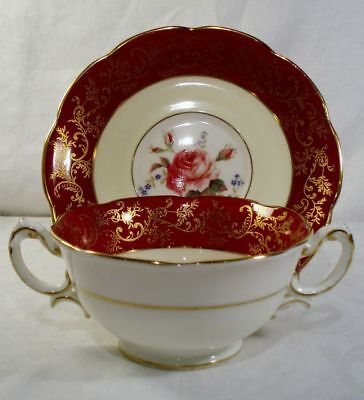 Royal Swansea Swansea Rose R139 Cream Soup and Saucer