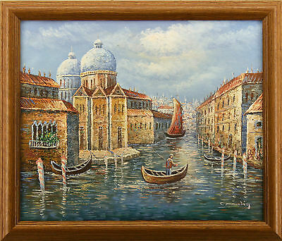 Italy Grand Canal River Gondola Boat  Venice Cityscape Art  FRAMED OIL PAINTING