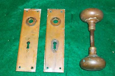 Brass Door Knob Large Antique Hardware Two Back Plates