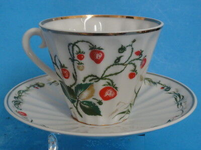 FIVE pcs LOMONOSOV USSR FLORAL GOLD TEA CUP SAUCER *MINT * ALL FOR ONE PRICE