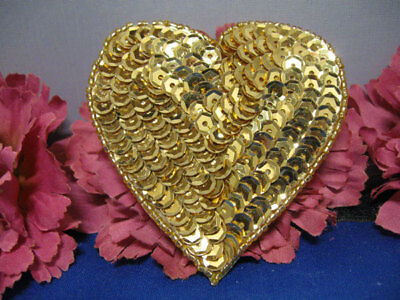 SEQUIN SEED BEADED 2 INCH HEART APPLIQUE 2226-G